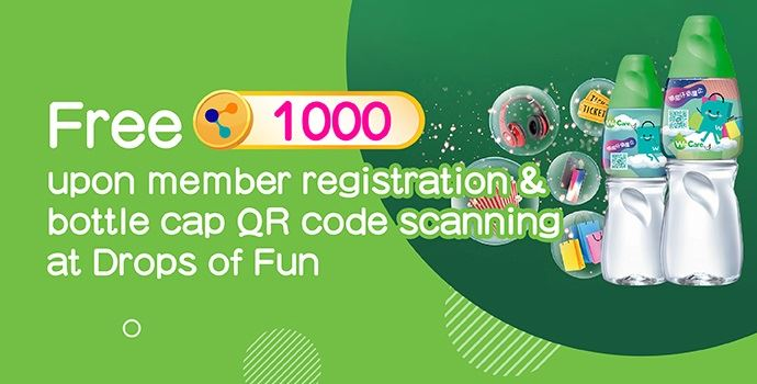 """Free 1,000 MoneyBack points upon """"Drops of Fun"""" member registration & scanning the bottle cap QR code"""